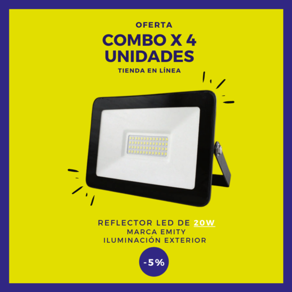REFLECTOR LED 20W Combo x 4 uds